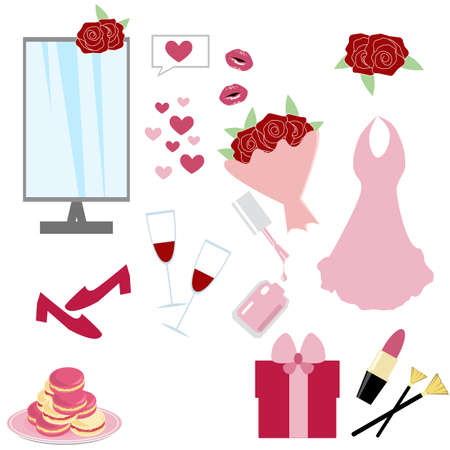 Fashion set. Bouquet, party, dessert, mirror, hearts, dress, shoes, make up. Vector illustration