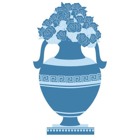 greek decorative ancient amphora and flowers, jug. vector illustration