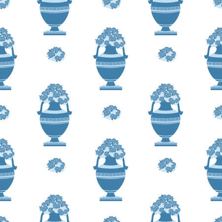 greek decorative ancient amphora and flowers, jug. seamless vector illustration