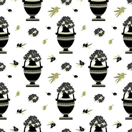 greek decorative ancient amphora, flowers and olive, jug. Seamless pattern, vector illustration