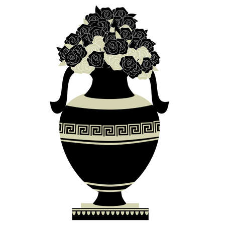 greek decorative ancient amphora and flowers, jug. vector illustration