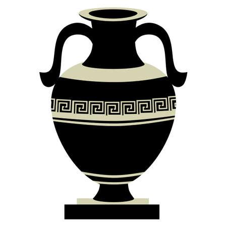 greek decorative ancient amphora, jug. vector illustration