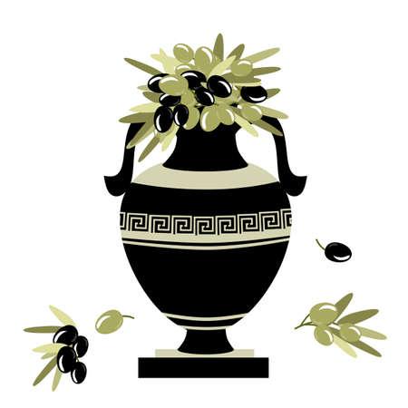 greek decorative ancient amphora and olive, jug. vector illustration