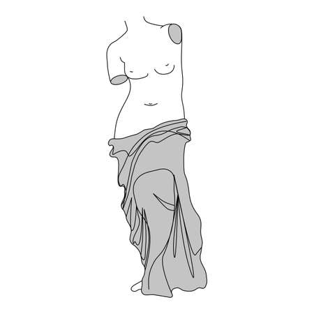 vector venus sculpture, silhouette ancient body, woman symbol