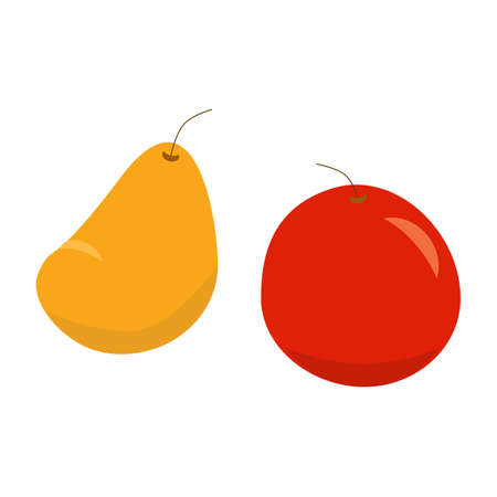 Red apple and yellow pear vector isolated icons, autumn 向量圖像