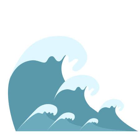 Wave symbols set vector isolated on white background,