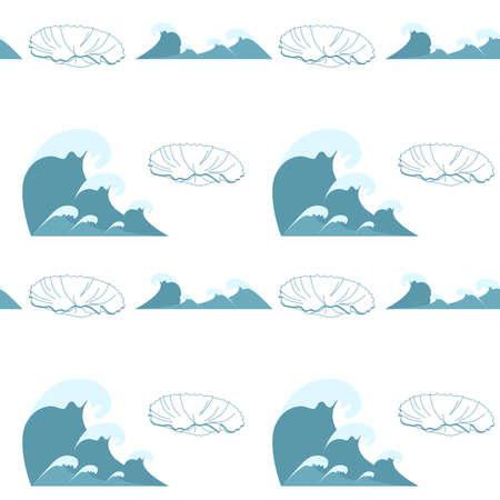 Wave symbols and seashell, seamless set vector isolated on white background,