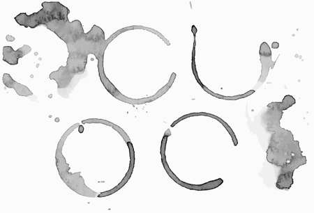 Coffee blots, spots and circle trace. Vector EPS 10. Ink graphic, natur product.
