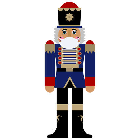 Nutcracker in face medical mask, ballet during the corona pandemic, Christmas collection. Vector element.