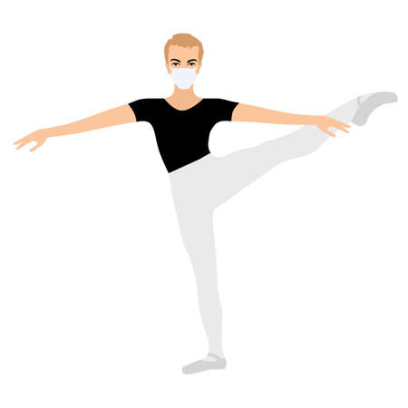 Ballet dancer, gymnast in face medical mask, ballet during the corona pandemic, boys collection. Vector element.