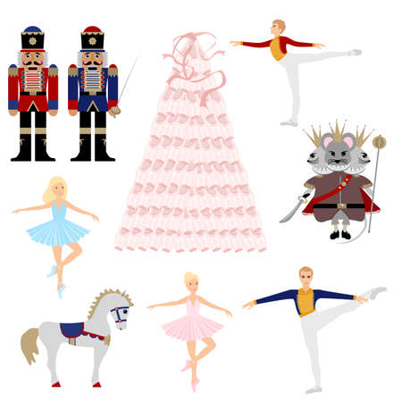 Nutcracker ballet Christmas tree collection. A set of vector elements. Ballerina, mouse king, horse, prince. Pointe shoes tree with ribbons