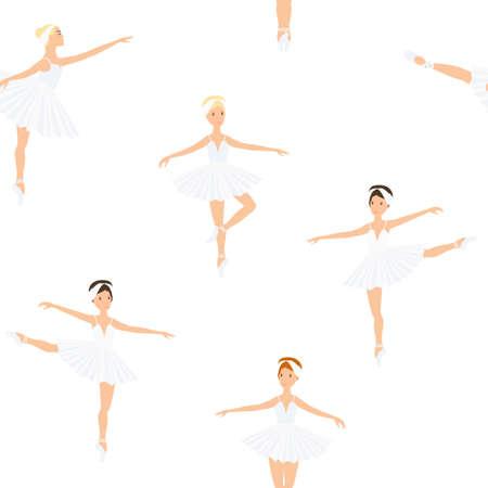 Ballerina, ballet dance, little swans. seamless pattern, set. Swan lake stage. Vector graphics illustration.