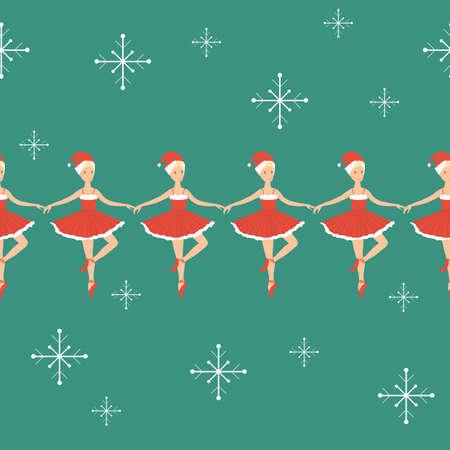 Ballerina Santa Claus, Seamless pattern banner border, Christmas ballet dance, Snowman. Vector graphic illustration. Vettoriali