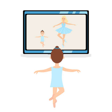 Ballet lesson, distant education online. Kids ballerinas at distant dance course via internet connection. work shop, master class during pandemic corona virus, covid-19, Stay home