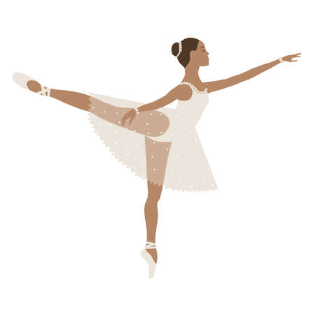 Dancing ballerina brown skin, girl in tutu and pointe shoes, beige dress. Vector illustration, performing classical ballet, vector flat style.