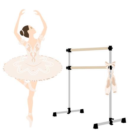 Ballerina, barre, tutu dress, pointe shoes, studio equipment ballet room, vector illustration, wood amd metal