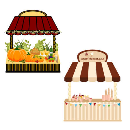 Farmer and ice cream street shop. A lot of food, ice cream, dessert, wine, cheese, vegetables, fruits. Old urbanstyle landscape. Flat design. Vector illustration