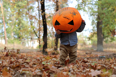 papiermache: Cute toddler boy playing with pumpkin masque in the autumn park, outdoor