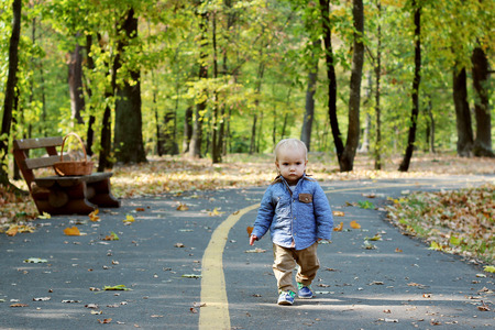 Handsome toddler walking forward along the road in the autumn park