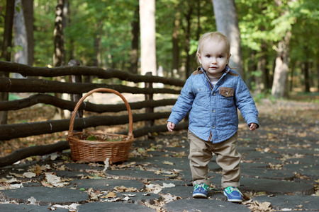 contended: Stylish handsome toddler standing on the wooden path near the log fence in the autumn park