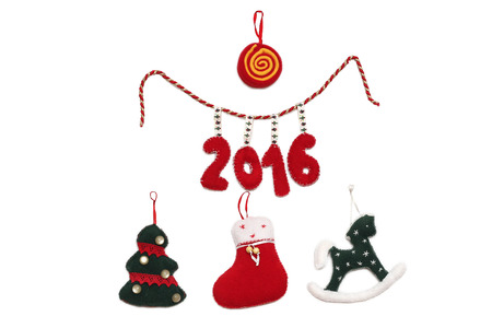 New Year 2016 sign formed with handmade Christmas toys over white background, winter holidays symbol