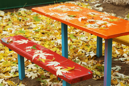 Colorful desk and benches are wet and empty, with drops and yellow maple leaves on them, fall outdoor