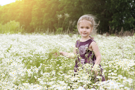 Cute little girl wearing beautiful dress dancing among chamomile field, beauty and fashion, happy childhood, summer vacation, outdoor