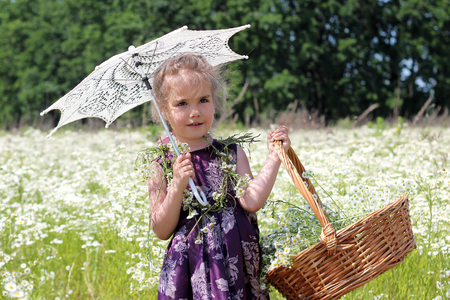 gentle dream vacation: Happy little girl with sun parasol and wicker basket with flowers walking among the chamomile field in summer, shabby chic charm, country style concept, beauty and fashion, summer outdoor