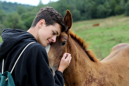 Young boy during the high mounting walking meets a young horse and communicates with it, wild nature, people and animals friendship concept, summer lifestyle, close-up outdoor Stock Photo