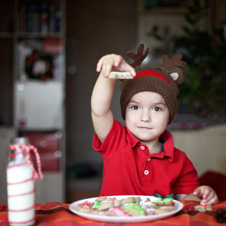 Cute toddler boy in the hat of reindeer eating a cookie from the festive plate with Christmas sweets, classical red and brown Christmas color, winter holidays concept