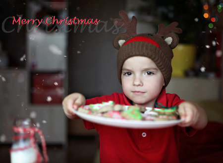 Cute toddler boy in the hat of reindeer eating a cookie from the festive plate with Christmas sweets, classical red and brown Christmas color, winter holidays concept, greeting card format