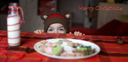 Cute toddler boy in the hat of reindeer eating a cookie from the festive plate with Christmas sweets, classical red and brown Christmas color, winter holidays concept, horizontal banner format