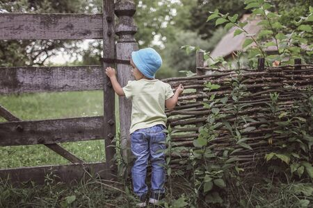 Cute 4-5 years boy in blue hat peering through an old wooden fence of country house, happy summertime, countryside, emotional outdoor lifestyle