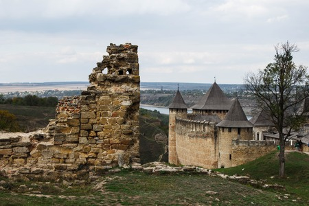 Khotyn old castle on Dniester riverside in autumn day. Ukraine