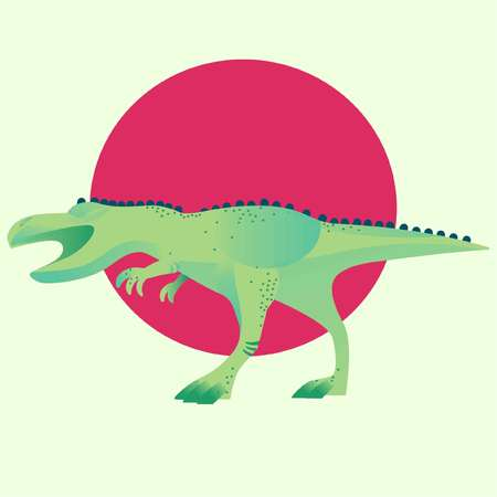 Dinosaur Vector illustration with red circle on green background. Standard-Bild - 97396352