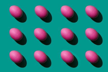 Pink eggs pattern ester background