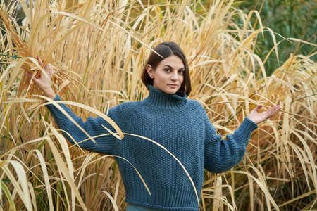 Young pretty woman in blue pullover in the yellow grass