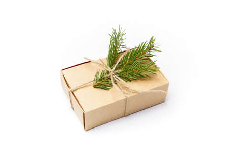 craft box with pine tree branch isolated on white