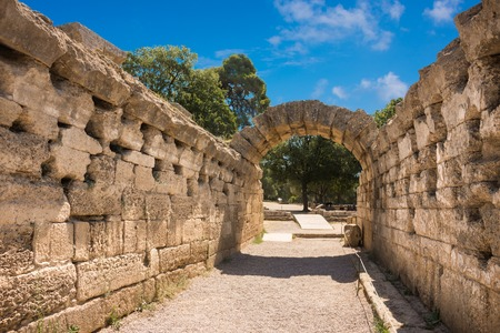 entrance to the original stadium in the greek city of Olympia