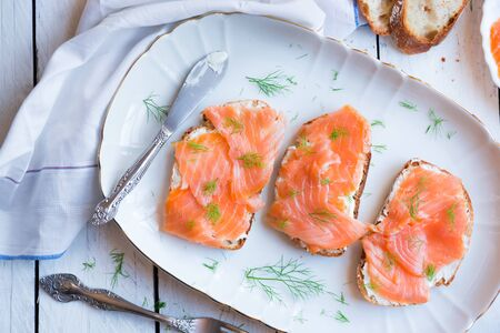 Sandwithes with smoked salmon and creamy cheese
