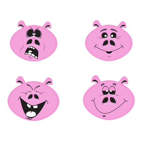 Set of four funny pigs - 2019 Chinece New Year