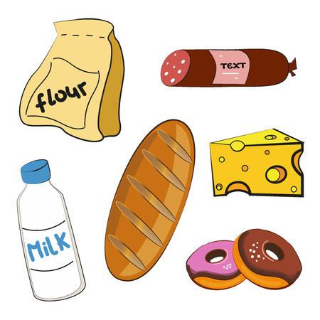 Simple things - cartoon vector illustration: milk, flour, sausage, cheese, donats, bread