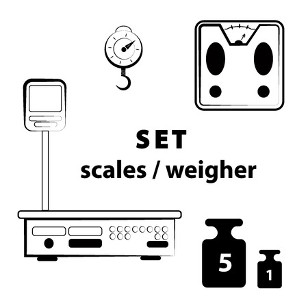 icon set - scales, weighing, weight, balance Banco de Imagens - 117077246