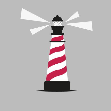 lighthouse illustration. red, white, black, gray lines. vector design Çizim