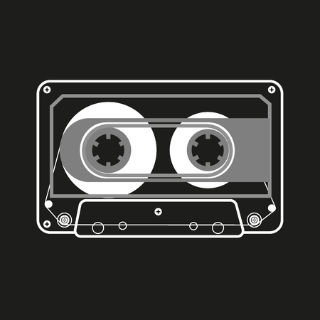 Vector black and white illustration of compact tape cassettes on black background 일러스트