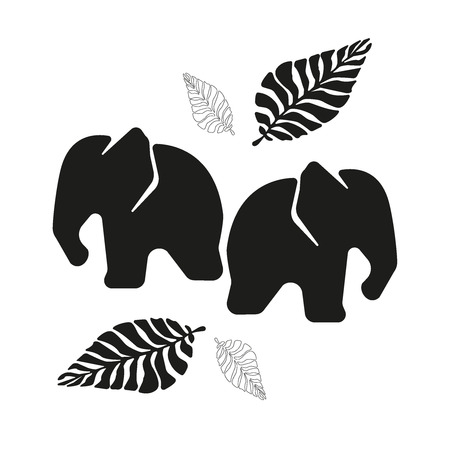 Two black elephants and branches on a white background. Couple. Love.Cartoon Vector Illustration, Nursery Background for Kid