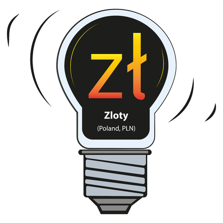 Vector lamp with currency sign - Zloty, Poland, PLN