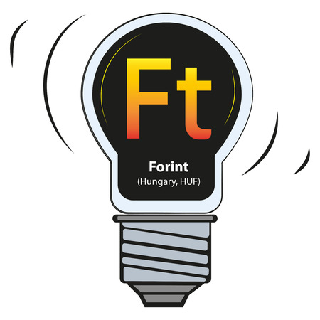 Vector lamp with currency sign - Forint, Hungary, HUF