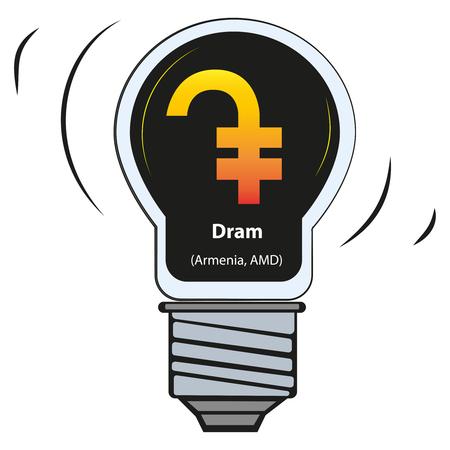 Vector lamp with currency sign - Dram, Armenia, AMD Illusztráció