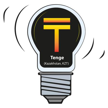 Vector lamp with currency sign - Tenge, Kazakhstan, KZT Illusztráció